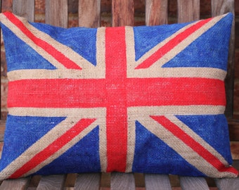 Hand Painted Burlap British Flag Pillow Cover