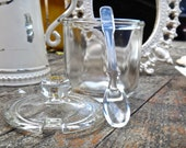 Jam Jar, Preserves Jar, Hostess Gift, Jam Jar with Spoon, Honey Jar, Glass Spoon, Servingware, Kitchenware, Glass Jelly Jar with Lid