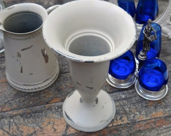 Pewter Vase, Metal Vase, Painted Vase, White Flower Vase, Table Centerpiece, Vintage Flower Vase, Rustic Pewter, Rustic Table Decor