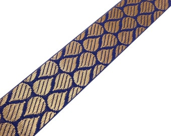 Jaqcuard Lace in Tear Drop Pattern - Blue - Gold Sari Ribbon / Trim / Lace  for Dresses, Sari  and more