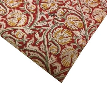 Floral Print Kalamkari Cotton Fabric - Mustard and Maroon - Indian Cotton Fabric - Vegetable Dyed Kalamkari Pattern Fabric by Yard