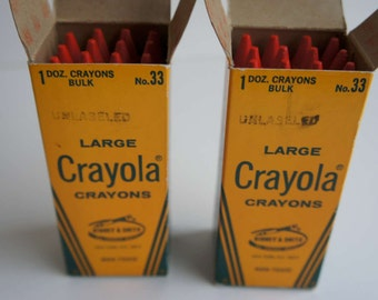 Vintage Crayola Crayons Bulk Red Unlabelled Boxes 1970s