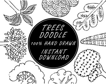 Trees Doodle Clip Art, Whimsical Tree Clipart, Hand drawn, PNG, 300dpi, Downloadable Images, Lineart, Line Art, Poster, Coloring Page, Nedti