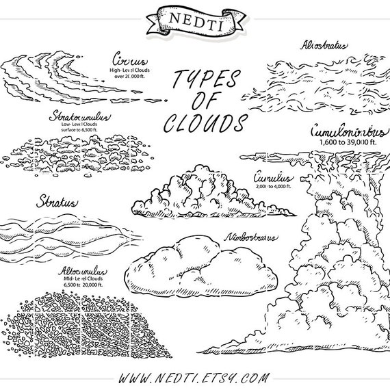 19 clipart elements  types of clouds  weather  water cycle