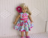 Playful Owl Dress for all 18inch dolls, like the American Girl