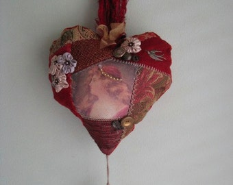 Handmade VICTORIAN  Heart pillow dangle - Bohemian - Victorian - Gipsy - Maroon upholstery fabrics. Embellished with buttons brass