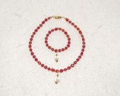 AG Doll Red, Crystal & Gold Jewerly Set