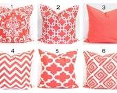 CORAL Pillows.Pillow Cover, Decorative Pillow, Coral Throw Pillow, Coral Pillows, Accent Pillow, All Sizes, Bedding, Coral Euro, Cushion