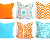 Orange Pillows, Blue Pillows, ALL SIZES, Pillow Covers, Decorative Pillow, Home Decor, Solid Blue, Solid Orange, Blue Chevron, Ikat, Cushion