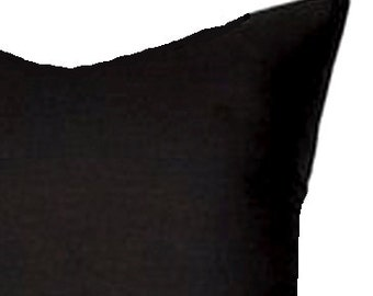 Solid BLACK Outdoor PILLOWS Sale. 12x20 or 12x18 inch. OUTDOOR.Pillow.Lumbar Pillow Cover.Decorative Pillows.Black.Cm