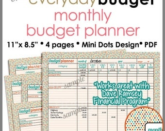 Monthly Budget Tracker/Planner Printable Worksheet - Autumn Mini Dots 8.5 x 11 inch - PB1409