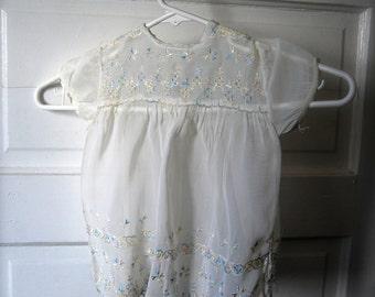 Vintage Baby Dress, Delicate, White, Pastel