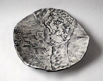 Handmade Black and White Ceramic Dish