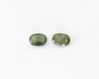 Genuine Green Sapphire, Oval Cut, Lot (2) of 3.70 carats