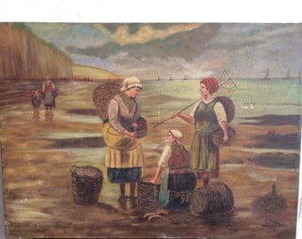 Very Large French Oil Painting, vintage folk art