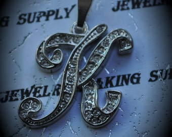 Silver Plated Pendant Cursive Letter With Clear Crystals - K