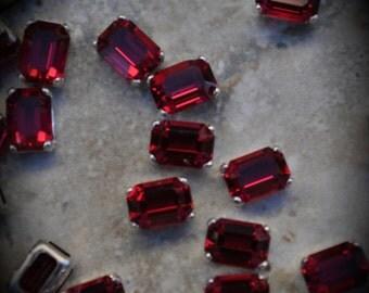 4600 7mm Genuine Swarovski Crystals Ruby Octagon Sew On Rhinestones Silver Plated Beads