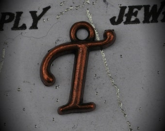 Letter T Red Copper Charm