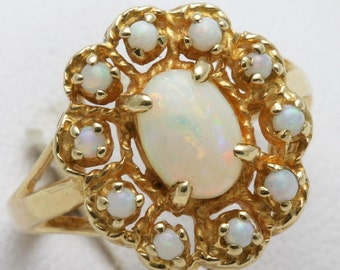 Vintage 14k yellow gold OPAL Flower Cocktail Cluster Ring October Birthstone Opal