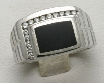 Vintage 14k white gold Diamond Black Onyx Men's Ring Square 1/4 carat Estate