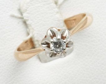 Vintage 14k rose white gold Cubic Zirconia Flower Ring Solitaire Estate