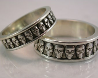 Skull Band Set (Sterling Silver, Bronze, Stainless Steel) (Wide-7mm)(Narrow-5mm) (Sizes 4-13)