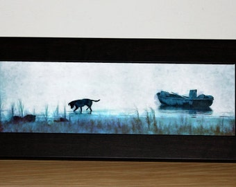 Dog Day Afternoon Framed Canvas - Perfect for desk, bookshelves, end tables fits most anywhere!