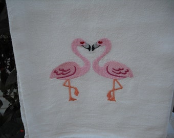 Kissing Flamingos in Love Flour Sack Kitchen Towel. Machine embroidered.