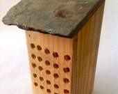 Douglas Fir Mason Bee House with reclaimed slate roof