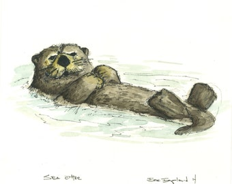 Original Sea Otter Watercolor