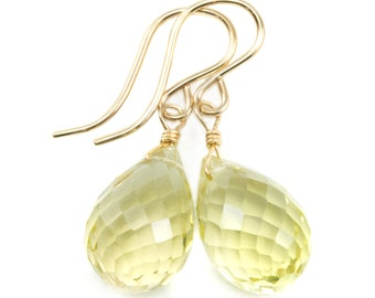 Lemon Yellow Quartz Earrings Sterling Silver or 14k Gold Filled Rounded Fat Briolette Teardrop Faceted Natural Soft Yellow Classic Drops