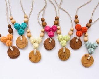 Choose Your Color Petite Trio Nursing Necklace, Mom Necklace, Breastfeeding, Baby Teether, Solid Color -FrejaToys