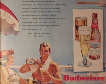 BUDWEISER BEER Couple Lounging By Pool Original Vintage 1940s Beer Ad Ready To Frame Additional Ads Ship FREE
