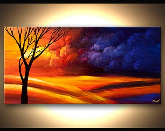 "Contemporary Tree Acrylic Painting Colorful Landscape Painting Blue, Purple, Reds by Osnat 48"" x 24"" - MADE-TO-ORDER"