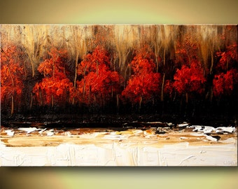 """Contemporary Landscape Painting Red Trees Texture Abstract Painting Red White Acrylic by Osnat - MADE-TO-ORDER - 48""""x30"""""""