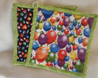 Colorful Balloons Quilted Potholders - Set of 2