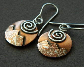 "Mixed metal jewelry ""Sunlit Peaks"" mokume earrings"