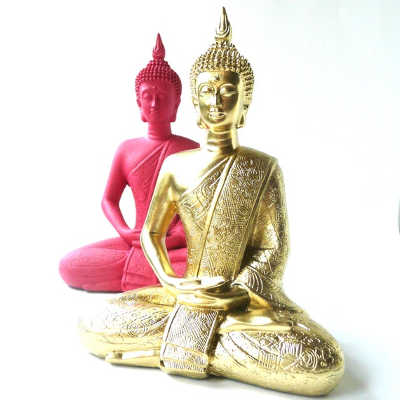 Gold buddha statue bohemian home decor upcycled by skullpops for Buddha decorations for the home