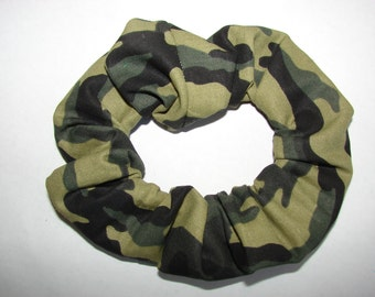 New Green Camo Fabric Hair Scrunchie, women's accessories, womans scrunchie. camoflauge scrunchy, feminine hunter gifts, gifts for her,
