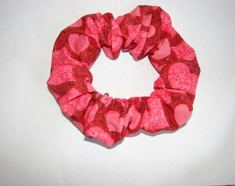 Sparkle red pink Heart Valentine fabric Hair Scrunchie, women's scrunchies, valentine's day, hearts love romance, fancy dressy, gift for her