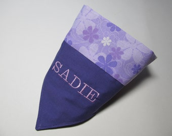 Personalized Dog Bandana - Over the Collar Style In Purple - Makes a Great Gift