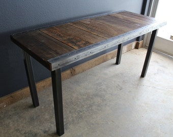 24 x 72 Industrial desk with raw steel trim and straight steel legs