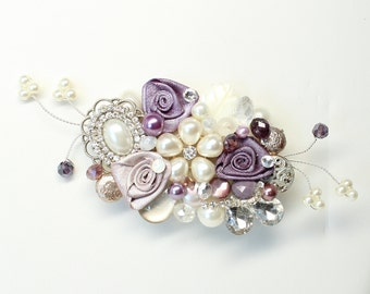 Bridal Hair Comb- Purple Bridal hairpiece- Bridal Hair Accessory- Purple Wedding Hairpiece- Eggplant Hair Comb- Wedding Hair Accessories