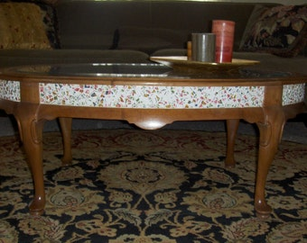 Solid Cherry Coffee Table with a Beautiful Floral Mosaic Inlay
