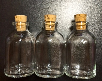 "10 Glass Round Potion Bottles with cork Size 2 3/8"" inch tall Item #3766"