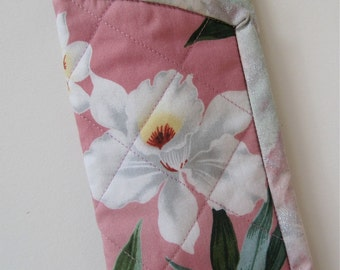 "Quilted Eyeglass Case ""Pink Orchids"" iphone pouch"