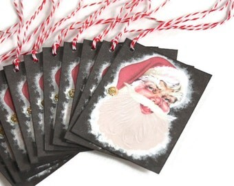 Retro Inspired Christmas Gift Tags Santa Claus MCM Vintage Set of 10 Mid Century