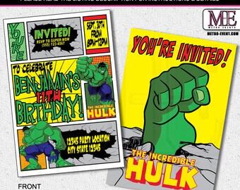 Superhero Invitation, Hulk Birthday Invitations, Super hero Invitation, Hulk Party Invitations, Hulk Party, Invitations, Hero Invitation