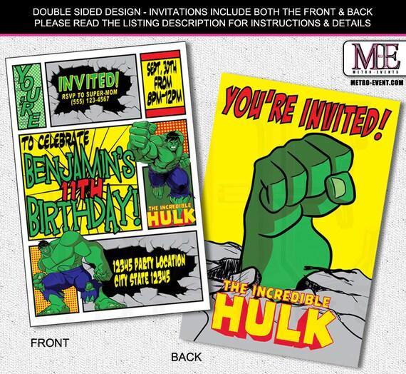 Superhero Invitation Hulk Birthday Invitations Super hero – Hulk Party Invitations