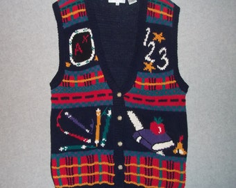 Schools Out For Summer Sweater Button Up Vest Tacky Gaudy Ugly Bad School Teacher Sweater Christmas X-Mas Party Winter Warm Holiday L Large